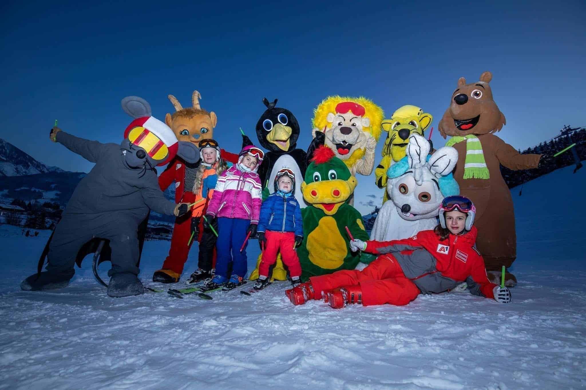 Maskottchenlauf auf Ski